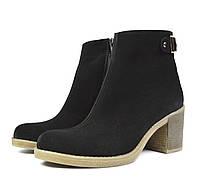 Черные осенние женские замшевые ботинки LUXART на устойчивом каблуке