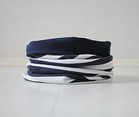 Двухсторонний снуд (шарф труба, воторничек). Сине-белая полоса с темно-синим.  Унисекс.  Универсальный размер.