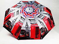 Женский зонт полуавтомат Англия красные телефонные будки и автобусы