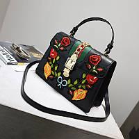 Модная женская черная сумка с вышивкой в стиле Gucci