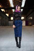 Юбка стильная джинсовая миди на пуговицах по всей длине Udi76