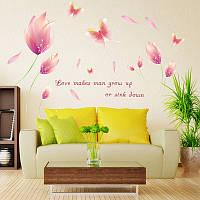 Интерьерная наклейка на стену Розовые цветы (110х70см)