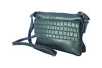 "Ginepro - Зелёная кожаная сумочка с клапаном из кожи ""под крокодил"""""""