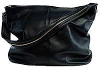 Borsa Papavero (black) - Черная большая классическая сумка из натуральной кожи