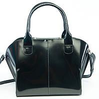 Tempo (Black) - Черная стильная сумка из полированной кожи.