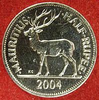 Монета Маврикий 50 центов. 2004 г.
