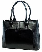 Borsa Ispettore - Черная кожаная сумка в деловом стиле с внешним карманом