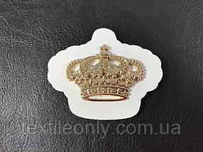 Нашивка Корона золотая белая 57х48мм