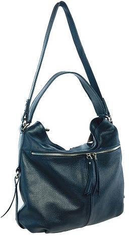 fda9af7de4a7 Borsa Donata (blu) - Синяя кожаная сумка с двумя внешними карманами на  змейках.