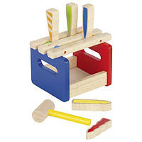Развивающая игра Скамейка с молоточком goki 58562G, деревянная игрушка стучалка