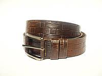Коричневый плетёный кожаный ремень S_Torri Т4007 - Джинсовый кожаный ремень 40 мм