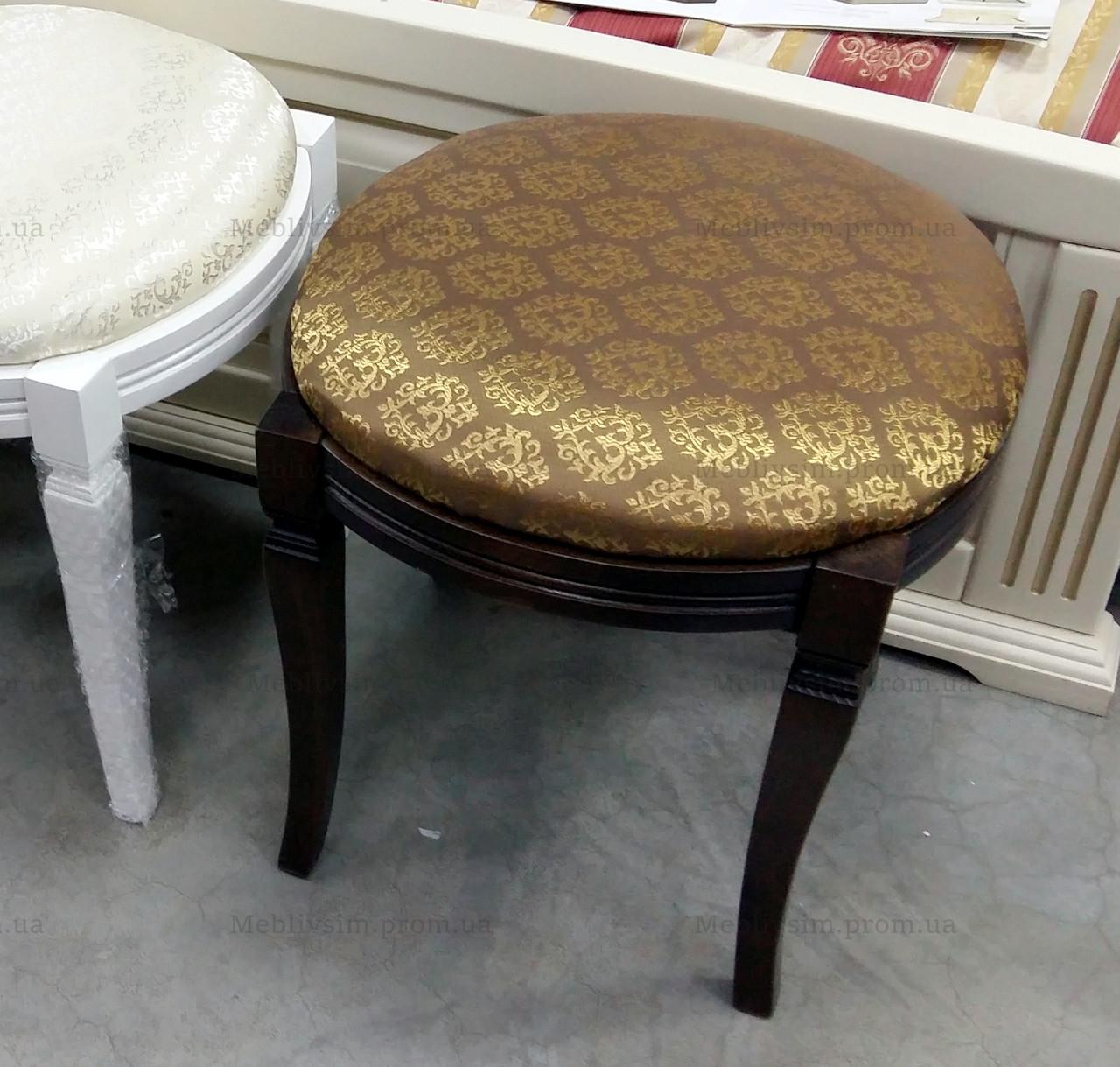 Банкетка круглая Микс мебель, цвет темный орех / махонь