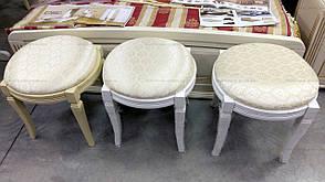 Банкетка круглая Микс мебель, цвет белый + патина, фото 2