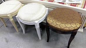 Банкетка круглая Микс мебель, цвет белый + патина, фото 3