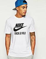 Брендовая футболка Nike, мужская, хб, белая, найк КП389