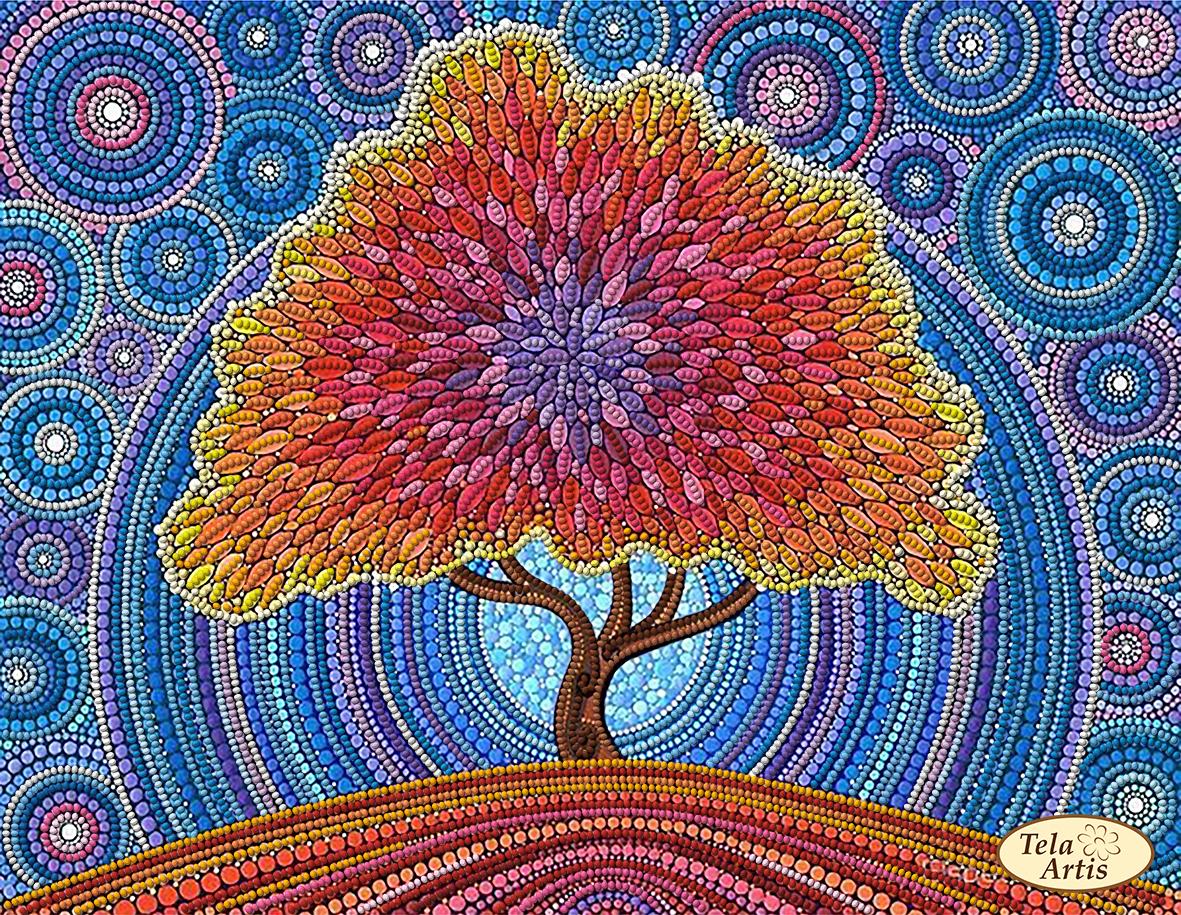 """Схема вышивки крюил """"Дерево счастья&quot 5"""
