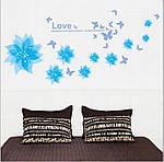 Интерьерная наклейка на стену Голубые цветы  (AM001), фото 2