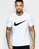 Брендовая футболка Nike, мужская, белая, счерным логотипом найк, КП417