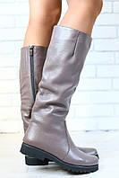 Женские демисезонные сапоги, кожаные, на байке, кофейного цвета, низкий ход