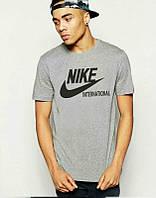 Брендовая футболка Nike, серая, с чёрным логотипом, мужская, летняя, КП522