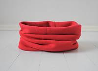 Однослойный снуд (шарф труба, воторничек) красного цвета. Внутри начес. Унисекс.  Универсальный размер.