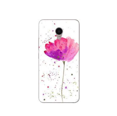 Силіконовий чохол накладка з принтом для Meizu M5c Квітка рожевий
