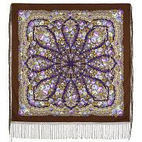 Желанная 1744-17, павлопосадский платок (шаль) из уплотненной шерсти с шелковой вязанной бахромой, фото 1