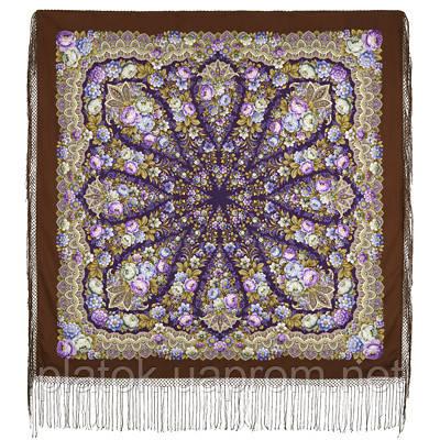 Желанная 1744-17, павлопосадский платок (шаль) из уплотненной шерсти с шелковой вязанной бахромой