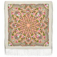 Желанная 1744-2, павлопосадский платок (шаль) из уплотненной шерсти с шелковой вязанной бахромой, фото 1