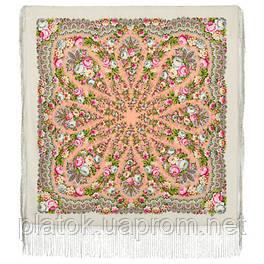 Желанная 1744-2, павлопосадский платок (шаль) из уплотненной шерсти с шелковой вязанной бахромой