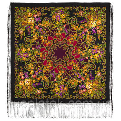 Цыганка Аза 362-20, павлопосадский платок (шаль) из уплотненной шерсти с шелковой вязанной бахромой