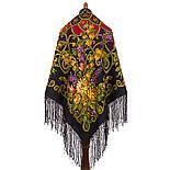 Цыганка Аза 362-20, павлопосадский платок (шаль) из уплотненной шерсти с шелковой вязанной бахромой, фото 3