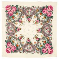 Волшебный край 1597-2, павлопосадский платок шерстяной  с осыпкой (оверлоком)