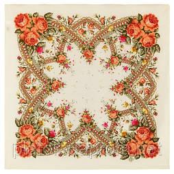 Волшебный край 1597-3, павлопосадский платок шерстяной  с осыпкой (оверлоком)