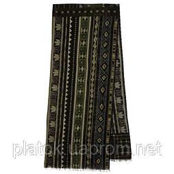 10369-10 кашне мужское, павлопосадский шарф (кашне) шерстяной (разреженная шерсть) с осыпкой