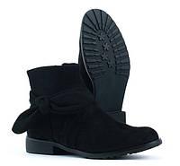 Замшевые чёрные ботинки весна-осень из Польши размеры 36-41