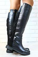 Женские демисезонные сапоги, комбинированные: натуральная кожа и замша, черные, на байке