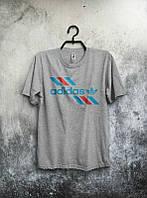Брендовая футболка Adidas, адидас, мужская, летняя, качественная, серая, трикотаж, спортивная, КП1916