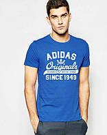 Брендовая футболка Adidas, адидас, синяя, мужская, хлопок, молодежная, КП1930