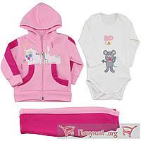 Розовый костюм тройка с начёсом для малышей Размеры: 6-12-18 месяцев (5580-3)