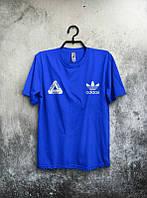 Брендовая футболка Adidas, адидас, синяя, мужская, летняя, качественная, трикотаж, молодежная, КП1943