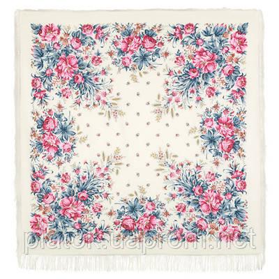 Утренний сад 363-3, павлопосадский платок шерстяной (двуниточная шерсть) с шелковой бахромой