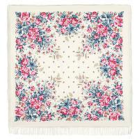 Утренний сад 363-3, павлопосадский платок шерстяной (двуниточная шерсть) с шелковой бахромой   Первый сорт