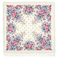 Утренний сад 363-3, павлопосадский платок шерстяной (двуниточная шерсть) с шелковой бахромой, фото 1
