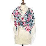 Утренний сад 363-3, павлопосадский платок шерстяной (двуниточная шерсть) с шелковой бахромой, фото 2