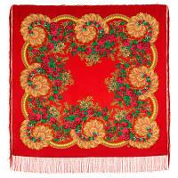 Цветочный веер 1699-5, павлопосадский платок шерстяной (двуниточная шерсть) с шелковой бахромой
