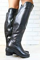 Зимние женские ботфорты-европейка, на низком ходу, кожаные, черные