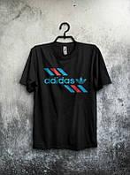 Брендовая футболка Adidas, адидас, черная, мужская, трикотаж, качественная, летняя, стильная, КП1973