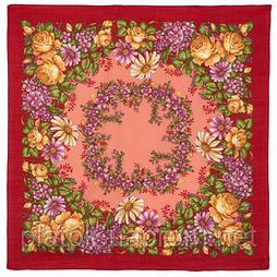 Танец феи 1673-6, павлопосадский платок шерстяной  с осыпкой (оверлоком)