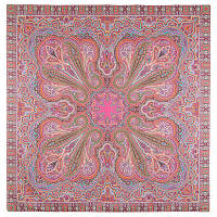 Восточное путешествие 1566-3, павлопосадский платок (шаль) хлопковый (саржа) с подрубкой   Первый сорт